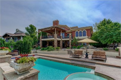 saltwater pool in the backyard of an erie, colorado luxury home for sale