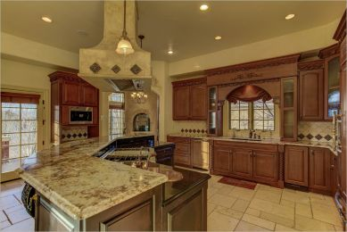 european style kitchen in colorado home for sale